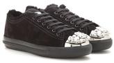 Miu Miu Embellished Suede Sneakers
