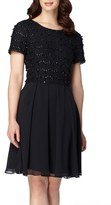 Tahari Women's Beaded Fit & Flare Dress