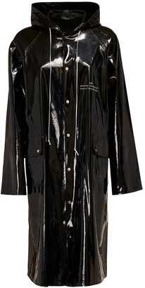 Rokh Logo Print Shiny Tech Trench Coat