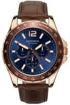 Sekonda Men's Multi-Function Brown Leather Strap Watch