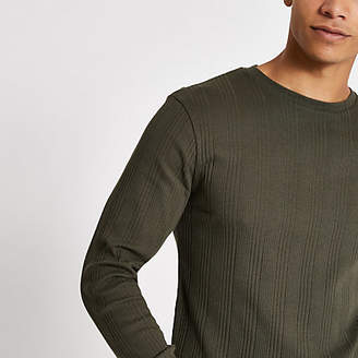 River Island Khaki long sleeve slim fit ribbed T-shirt