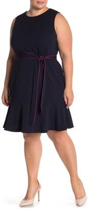 Brinker & Eliza Sleeveless Tie Waist Flounce Dress (Plus Size)