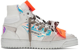 Off-White White and Orange Off Court 3.0 High-Top Sneakers