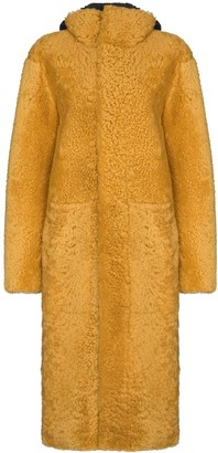 Bottega Veneta Shearling Hooded Mid-Length Coat