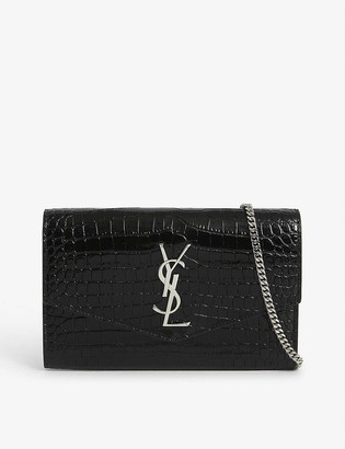 Saint Laurent Uptown monogram croc-embossed leather wallet-on-chain