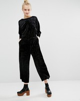 Monki Metallic Velvet Jumpsuit