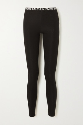 Balmain Stretch-cotton Leggings - Black
