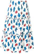 P.A.R.O.S.H. cactus print tiered long skirt