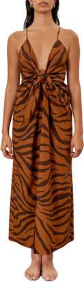 Mara Hoffman Lolita Tiger Stripe Knot-Front Sleeveless Maxi Dress
