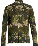 Valentino Button-cuff leaf-print cotton shirt