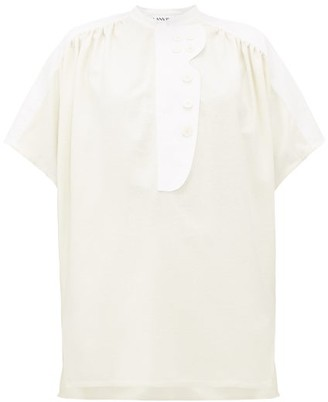 Lanvin Panelled Silk-canvas Shirt - Womens - Cream