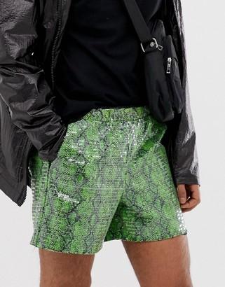 Asos Design DESIGN festival slim shorts with snake print in sequins-Green