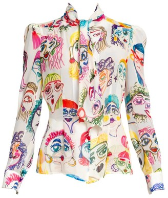 Moschino Face Print Silk Pussybow Blouse