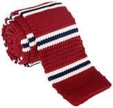 "Retreez Smart Casual Preppy Stripe Men's 2.4"" Skinny Knit Tie - Burgundy and Cream and Navy Blue"