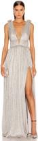 Jonathan Simkhai Plisse Lame Maxi Dress in Cool Silver | FWRD