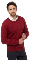 Jeff Banks Red V Neck Jumper With Silk And Cashmere