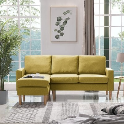"""Thumbnail for your product : Corrigan Studio Brunkil 77.16"""" Wide Reversible Modular Sofa & Chaise with Ottoman Fabric: Yellow 100% Polyester"""