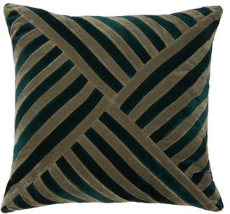 Christina Lundsteen - Lily Striped Cotton-velvet Cushion - Green Multi