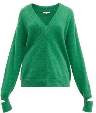 Tibi Airy V-neck Alpaca-blend Sweater - Womens - Green