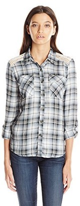 Jolt Women's Front Pocket Plaid Top with Lace Insets