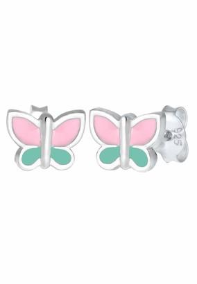 Elli Children's 925 Sterling Silver Pink Butterfly Earrings