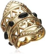 Ettika Maya Mastaba Onyx and Gold Ring, Size 6.5