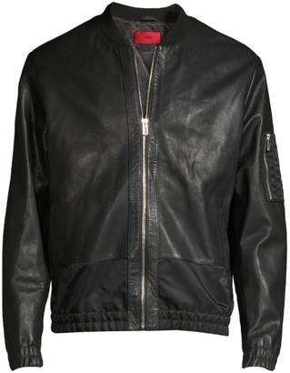 HUGO Larrson Slim-Fit Leather Bomber Jacket