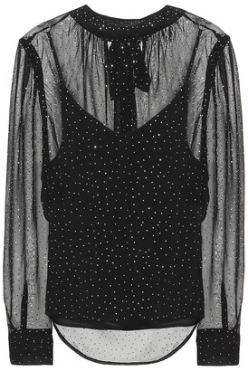 Veronica Beard Melling dotted silk top