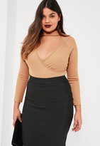Missguided Plus Size Brown Ribbed Choker Neck Bodysuit