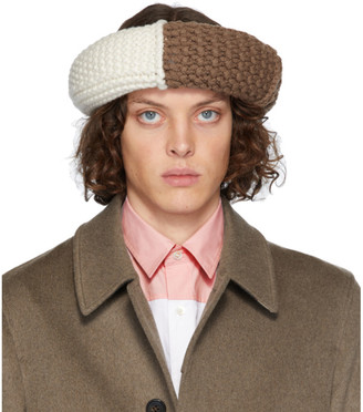 J.W.Anderson Brown Colorblock Cable Knit Hat