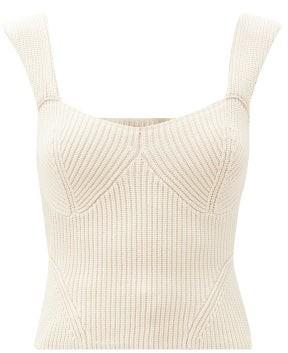 STAUD Kira Rib-knitted Top - Light Beige
