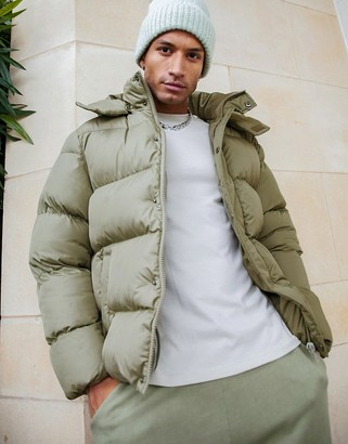 ASOS DESIGN sustainable puffer jacket with detachable hood in khaki