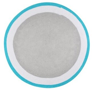 Spot On Square Round Trio Handmade Crocheted Cotton Gray/Blue Area Rug