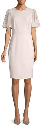 Calvin Klein Button-Sleeve Sheath Dress