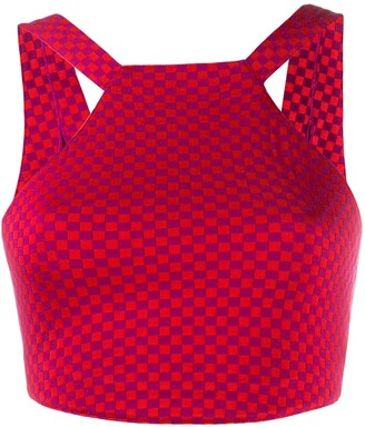 Alaïa Pre-Owned Checked Cropped Top