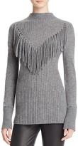 Aqua Cashmere Mitered Fringe Cashmere Sweater