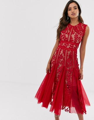 Bronx And Banco & Banco saba maroon lace midi dress-Red