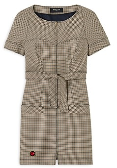 Paule Ka Belted Tweed Dress