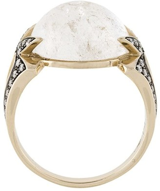 Noor Fares 18kt white gold diamond Amore round cabochon ring
