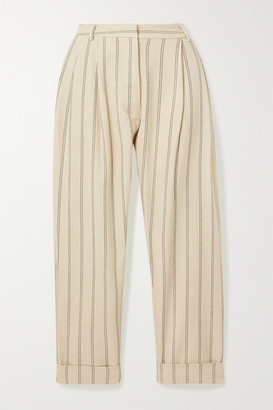 MATIN Cropped Pleated Pinstriped Linen-blend Tapered Pants - Ecru