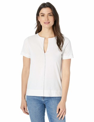 Majestic Filatures Women's Deluxe Cotton Short Sleeve V-Neck w/Swarovski Crystals