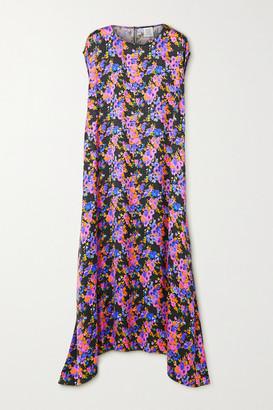 Vetements Asymmetric Floral-print Satin-jacquard Dress - Purple