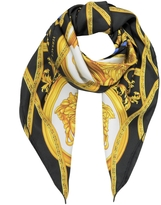 Versace La Coupe Des Dieux Black and Gold Twill Silk Square Scarf