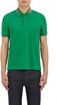 Gucci Men's Tiger-Embroidered Cotton-Blend Polo Shirt-GREEN