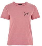 Topshop 'Heartless' Motif Stripe T-Shirt