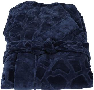 Roberto Cavalli Jerapah Italian Hooded Bathrobe, Blue