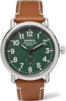 Shinola The Runwell 41mm Stainless Steel And Leather Watch - Tan
