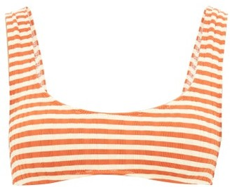 Solid & Striped The Elle Striped Ribbed-jersey Bikini Top - Womens - Red Stripe