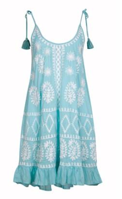 Pranella - Millie Aqua and White Dress - O/S