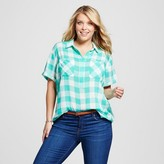 Merona Women's Plus Size Short Sleeve Popover Button Down Shirt